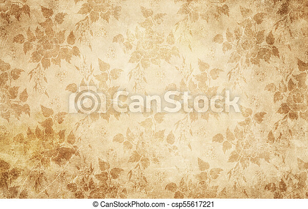 Vintage Paper Texture With Flowers