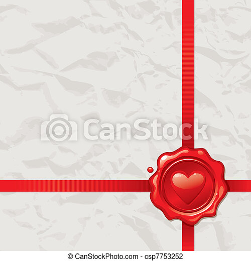 Vintage paper with Valentines wax seal - vector illustration - csp7753252