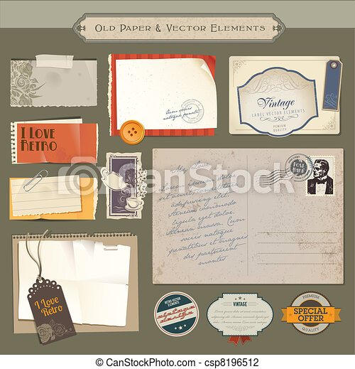 Vintage papers and elements - csp8196512