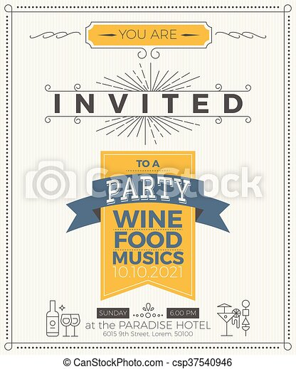 Vintage Party Invitation Card Template