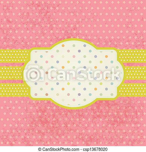 Vintage pastel frame on polka dot background - csp13678020