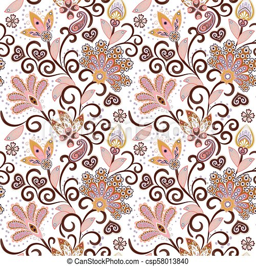 vintage pattern in indian batik style floral hand draw vector background pastel pink and beige on white https www canstockphoto com vintage pattern in indian batik style 58013840 html