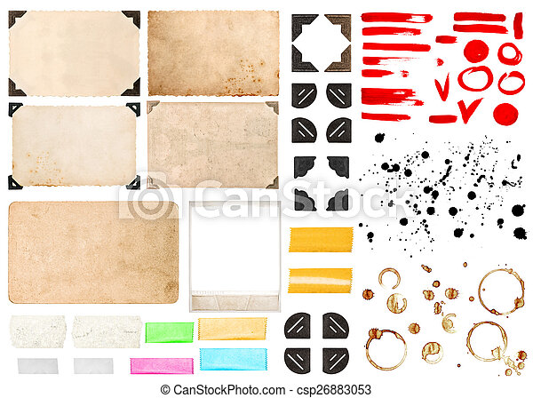 Vintage photo frames with corners, tape strips, stains and strok - csp26883053