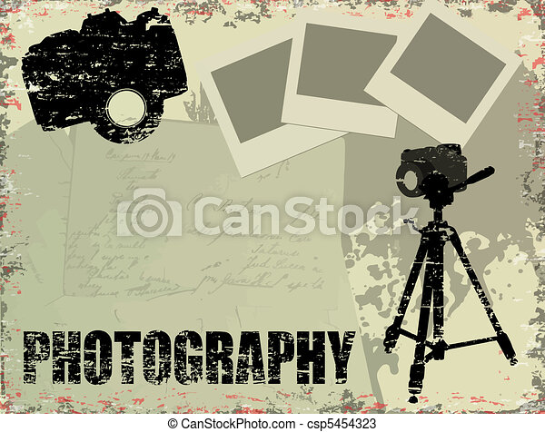 Vintage Photography Poster With Instant Photos
