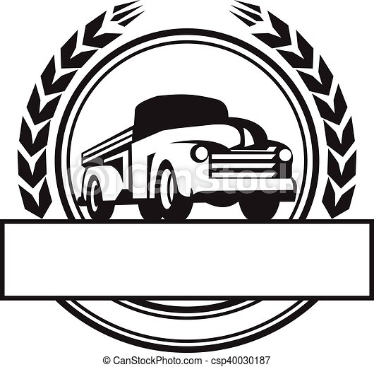 vintage pick up truck black and white retro illustration of a rh canstockphoto com old truck clipart black and white