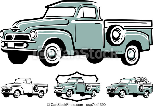 Old Trucks Clip Art Line Drawings