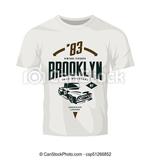 vintage pickup vehicle vector logo isolated on white t shirt mock up