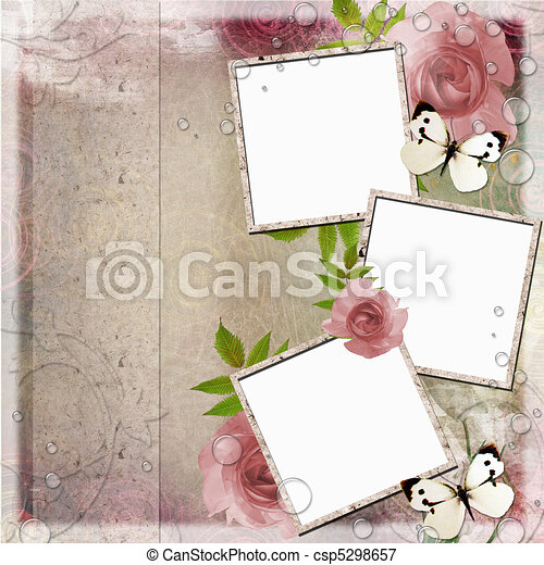 Vintage pink and green background with frames and roses ( 1 of ...