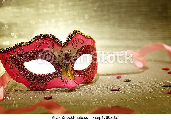 Vintage pink carnival mask  - csp17882857