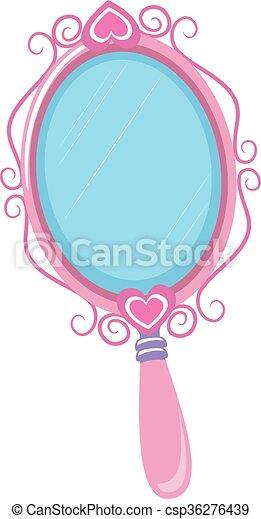 vector illustration of vintage pink hand mirror