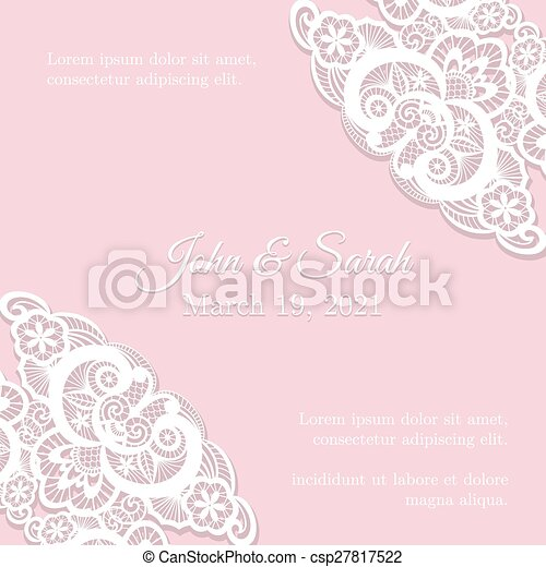 Vintage pink wedding invitation cover with lace decoration pink vintage pink wedding invitation cover with lace decoration csp27817522 junglespirit Image collections