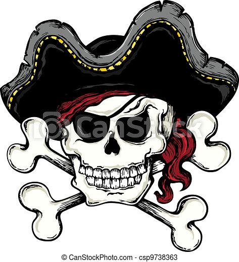 Vintage pirate skull theme 1 - csp9738363