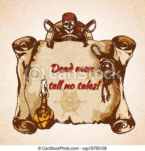 Vintage pirates background - csp19795106