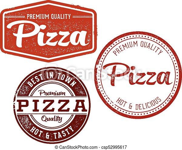 Vintage Pizza Menu Stamps - csp52995617