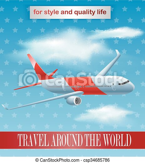 Vintage plane poster design - csp34685786