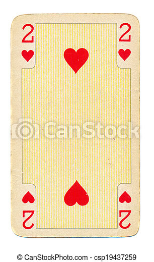 vintage playing card paper with hearts - csp19437259