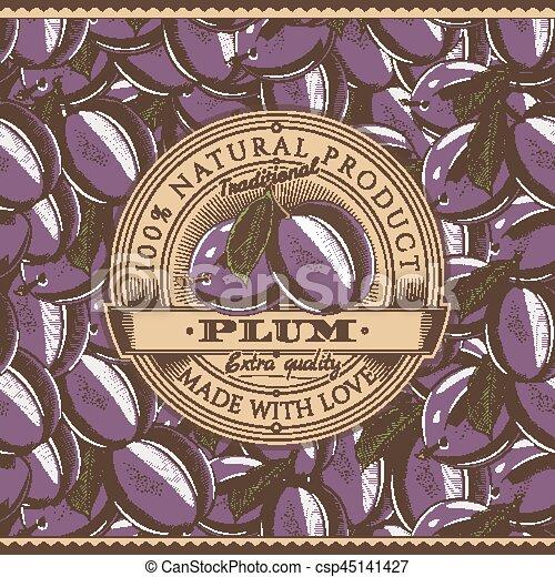 Vintage Plum Label On Seamless Pattern - csp45141427