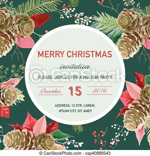 Vintage Poinsettia Christmas Invitation Card Winter Background Poster Design In Vector