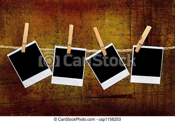 Vintage Polaroid Frames in a Darkroom - csp1156253