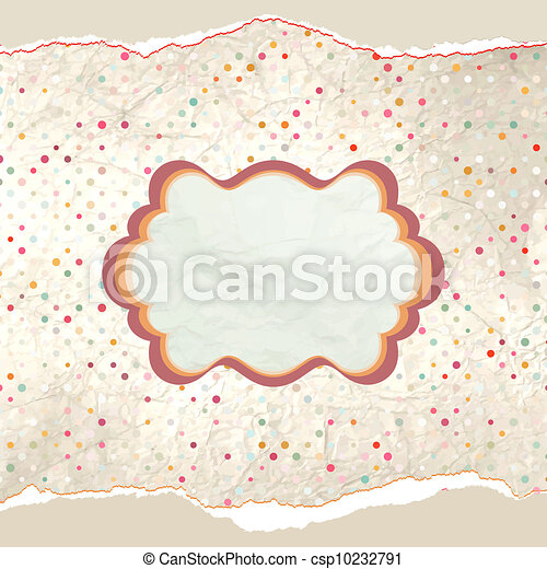 Vintage polka dot card. EPS 8 - csp10232791