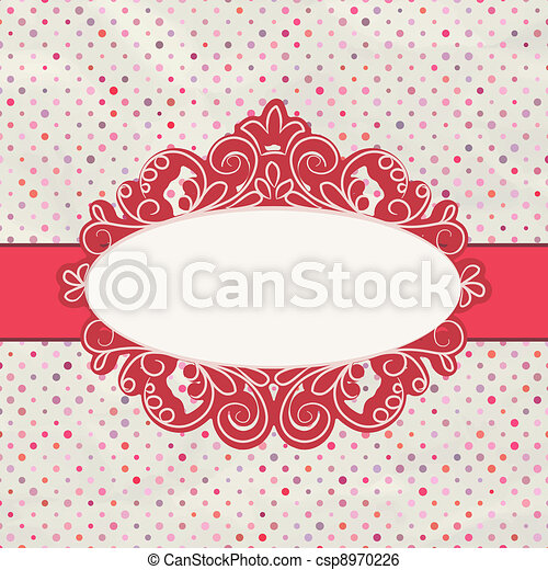 Vintage polka dot card with lace. EPS 8 - csp8970226