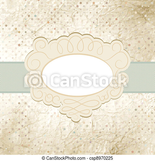 Vintage polka dot card with lace. EPS 8 - csp8970225