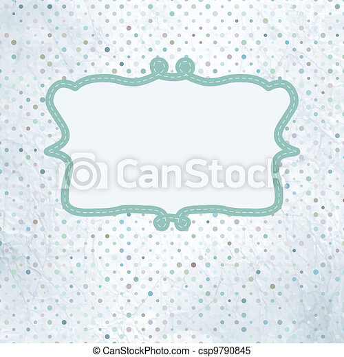 Vintage polka dot card with lace. EPS 8 - csp9790845