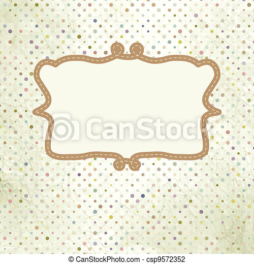 Vintage polka dot card with lace. EPS 8 - csp9572352