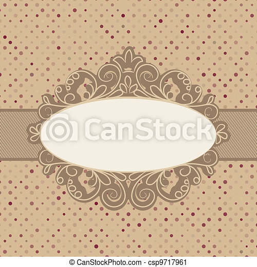 Vintage polka dot card with lace. EPS 8 - csp9717961