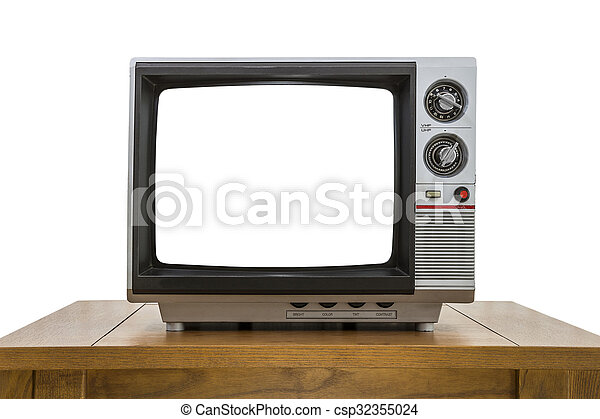 Vintage Portable Television and Table Isolated with Cut Out Screen - csp32355024
