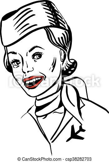 vintage portrait of a stewardess - csp38282703