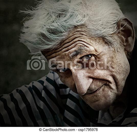 Vintage portrait of senior man with wisdom smile - csp1795978