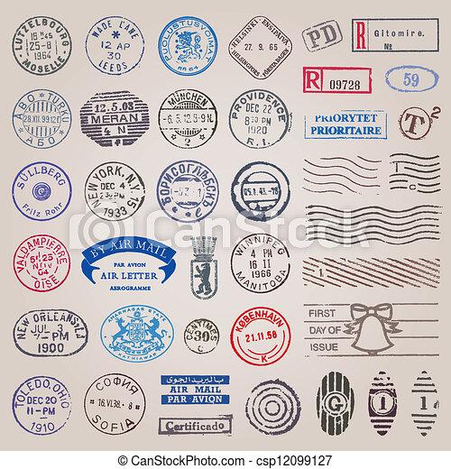 Vintage postage stamps vector set - csp12099127