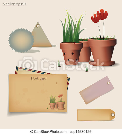 Vintage postcard and envelope with Red flower plant in clay pot. Vector illustration. - csp14530126