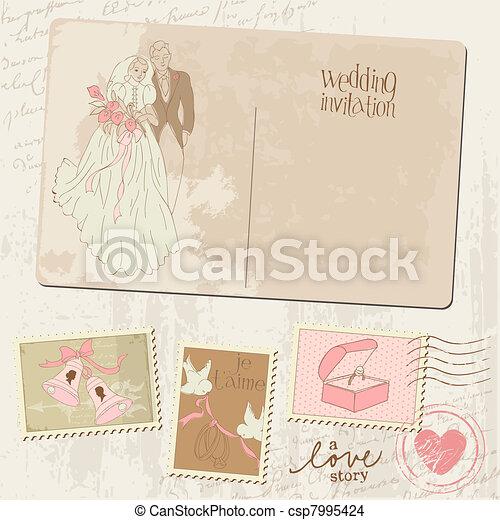 Vintage Postcard and Postage Stamps - for wedding design, invitation, congratulation, scrapbook - csp7995424