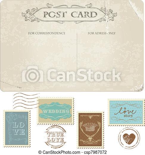 Vintage Postcard And Postage Stamps For Wedding Design Invitation Congratulation Scrapbook