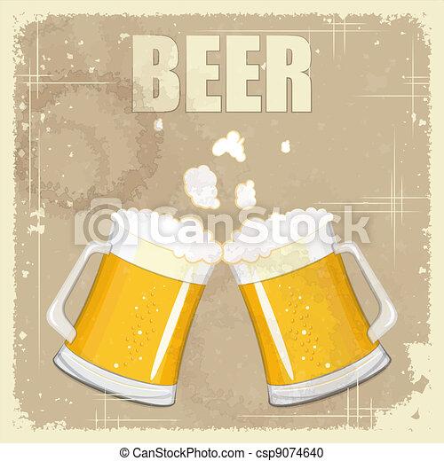 Vintage postcard, cover menu - Beer - csp9074640