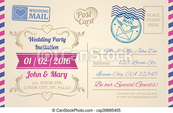 Vintage Postcard Vector Template For Wedding Invitation Love Letter Valentines Day