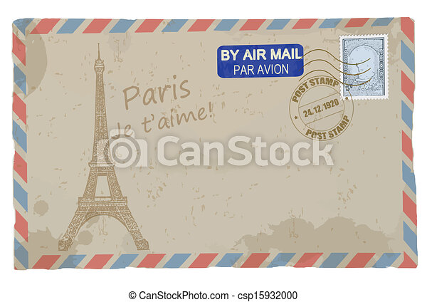 Vintage postcard with Eiffel Tower - csp15932000