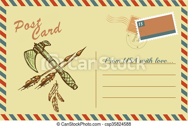 Vintage postcard with native American Indian tomahawks - csp35824588