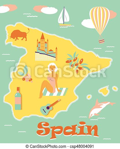 Map Of Spain Landmarks.Vintage Poster Of Spain With Attractions And Landmarks
