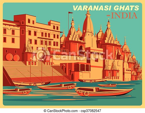 Vintage poster of Varanasi Ghats of Uttar Pradesh famous place in India - csp37082547