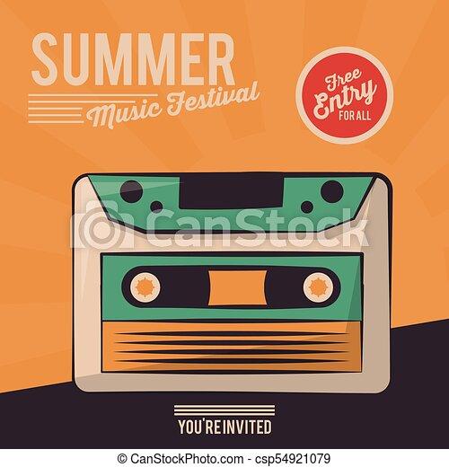 vintage poster summer music festival cassette - csp54921079