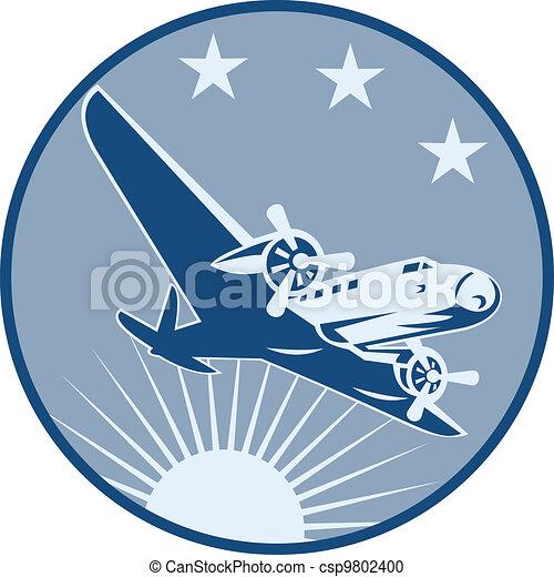 Vintage Propeller Airplane Retro - csp9802400