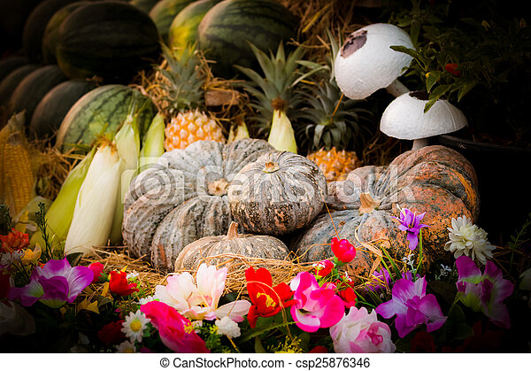 Vintage pumpkins and fruit - csp25876346