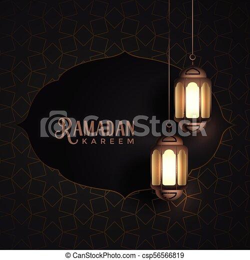 vintage ramadan kareem design with hanging lanterns - csp56566819