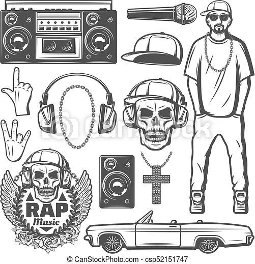 Vintage rap music elements collection. Vintage rap music elements ...