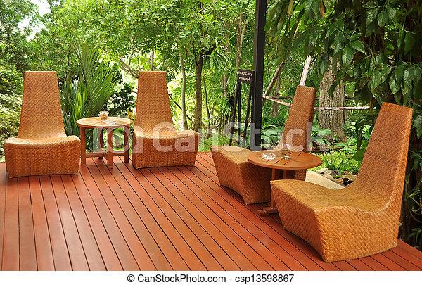 Vintage rattan furniture. - csp13598867