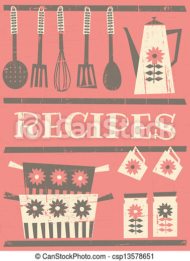Vintage Recipe Card Retro Style With Kitchen