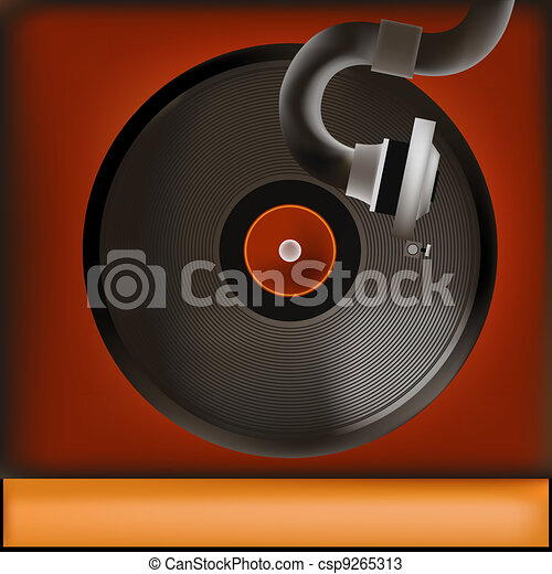 Vintage Record Player Background - csp9265313